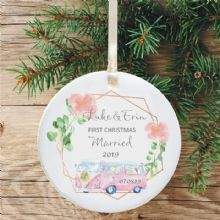 First Christmas Married Ceramic Keepsake Decoration - Geometric Campervan Design